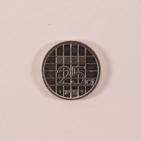 Obverse of a former Dutch 25 cent coin Banco de Imagens