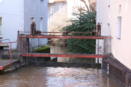 Historic buildings on a small river in the center of Forchheim in Bavaria