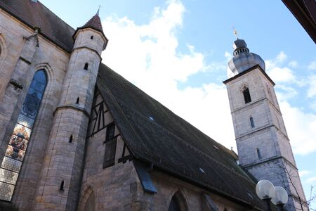 View of the St. Martin church in the old town of Forchheim Banco de Imagens