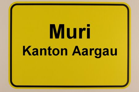 Illustration of the city entrance sign of the city of Muri in Switzerland Standard-Bild