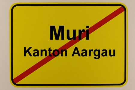 Illustration of the city exit sign of the city of Muri in Switzerland Standard-Bild