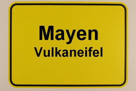 Illustration of the city entrance sign of the city of Mayen in the Eifel