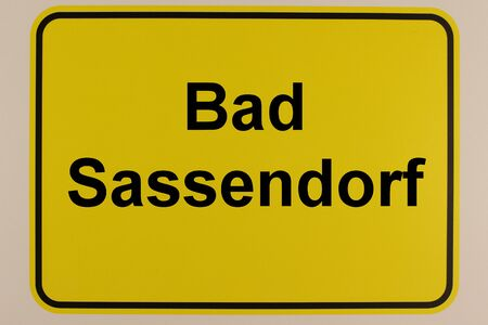 Illustration of the city entrance sign of Bad Sassendorf, a health resort near Soest in North Rhine-Westphalia