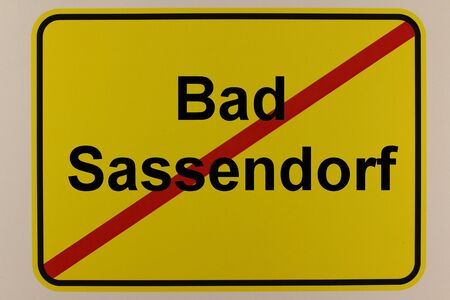 Illustration of the city exit sign of Bad Sassendorf, a health resort near Soest in North Rhine-Westphalia