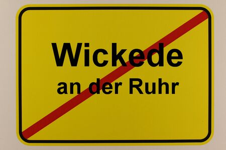 Illustration of the exit sign of the city of Wickede an der Ruhr