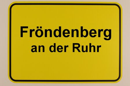 Illustration of the city entrance sign of the city Fr?ndenberg in the Ruhr valley