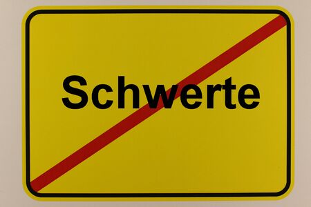 Illustration of the exit sign of the city of Schwerte in North Rhine-Westphalia