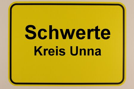 Illustration of the entrance sign to the city of Schwerte in North Rhine-Westphalia