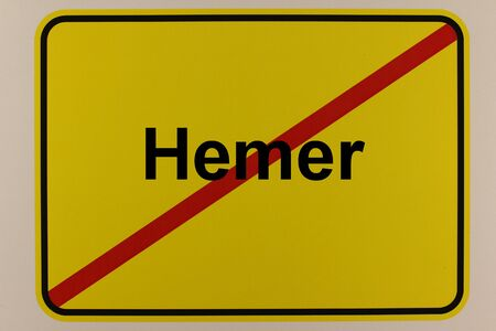 Illustration of a city exit sign of the city of Hemer in North Rhine-Westphalia