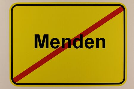 Illustration of the city exit sign of the city of Menden in North Rhine-Westphalia