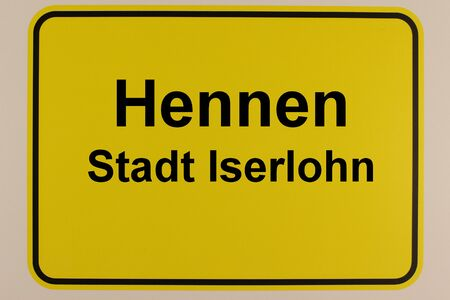 Graphic representation of the city entrance sign of Hennen, a district of Iserlohn in the Sauerland