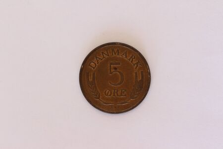 Close-up of a Danish 5 ?re coin Standard-Bild