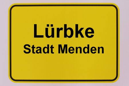 City entrance sign of L?rbke, a district of the city of Menden in the Sauerland Standard-Bild