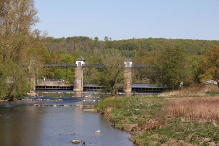 View of an old dam in Wickede on the Ruhr on the Ruhr Valley Cycle Path Banque d'images