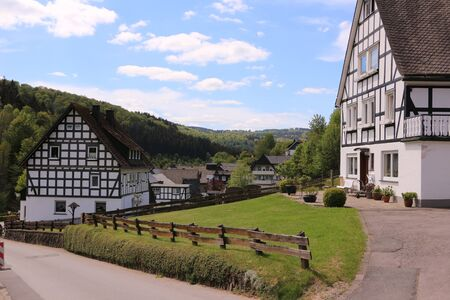 Traditional half-timbered houses in Latrop in the Upper Sauerland