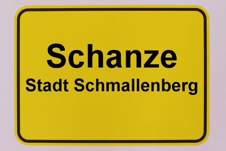 Graphic representation of the city entrance sign of Schanze, a district of the city of Schmallenberg in the Sauerland