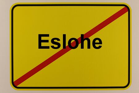 Graphic representation of the city exit sign of the municipality Eslohe in the Sauerland Standard-Bild