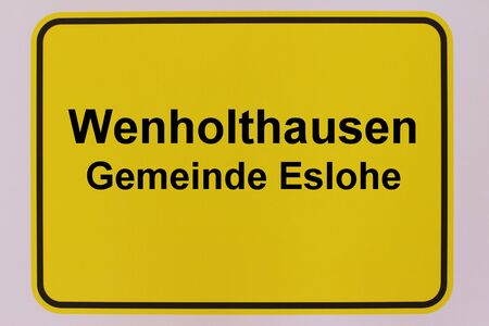 Graphic representation of the city entrance sign of Wenholthausen, a district of the municipality Eslohe in the Sauerland