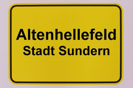 Graphic representation of the city entrance sign of Altenhellefeld, a district of the city of Sundern in the Sauerland Standard-Bild