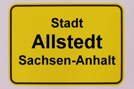 Graphic representation of the city entrance sign of the city of Allstedt in Saxony-Anhalt
