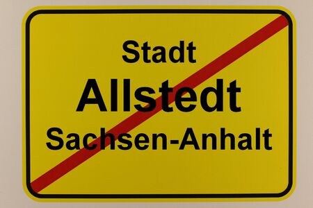 Graphic representation of the city exit sign of the city of Allstedt in Saxony-Anhalt