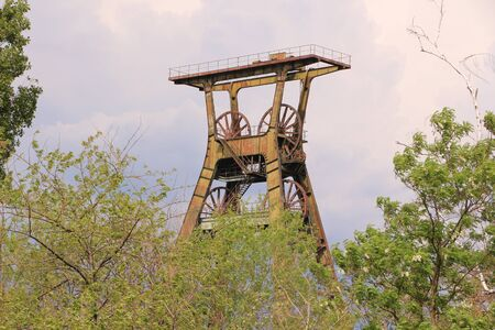 Old mining tower on a former coal mine in Allstedt in Saxony-Anhalt