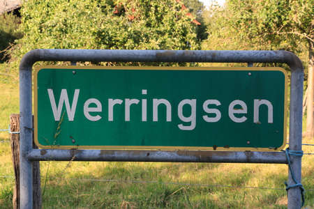 Entrance sign for Werringsen, a district of the city of Menden in the Sauerland Standard-Bild