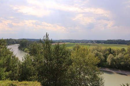 View of the river Inn near the town of Mühldorf am Inn in Bavaria