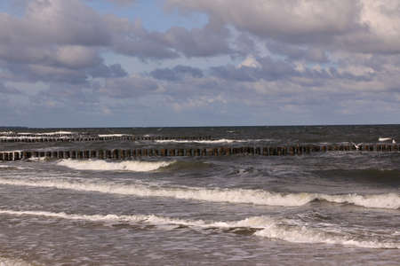 View of the Baltic Sea in the holiday resort of Zingst in Mecklenburg-Western Pomerania