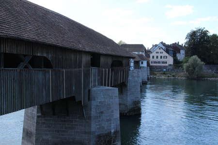 The wooden bridge Bad Säckingen over the Rhine connects the German Bad Säckingen and the municipality of Stein in Switzerland