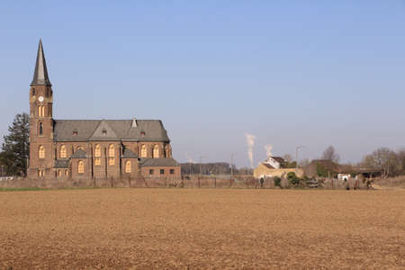 View of the abandoned town of Manheim in the mining zone of the Hambach opencast mine in North Rhine-Westphalia