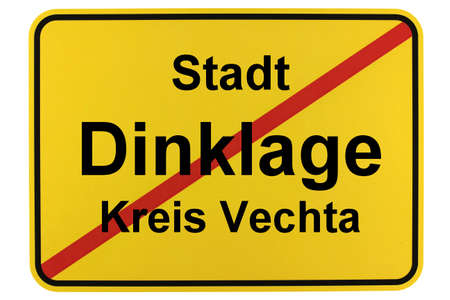 Illustration of a city entrance sign for the city of Dinklage in the Vechta district in Lower Saxony