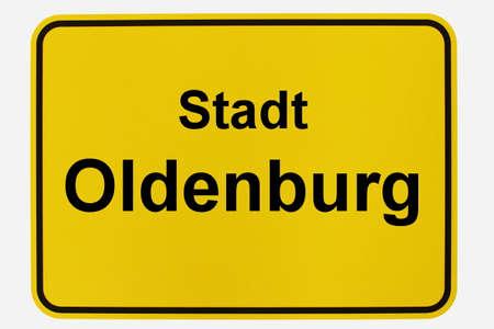 Illustration of a city entrance sign for the city of Oldenburg in Lower Saxony Standard-Bild