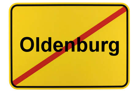 Illustration of a city exit sign for the city of Oldenburg in Lower Saxony