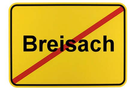 Illustration of a city exit sign for the city of Breisach am Rhein Standard-Bild