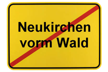 Illustration of a city entrance sign for the municipality of Neukirchen vorm Wald in Bavaria Standard-Bild