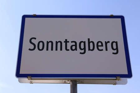 City entrance sign for the community of Sonntagberg in Lower Austria Standard-Bild