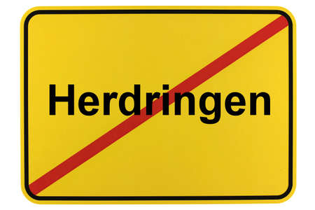 Illustration of a city entrance sign from Herdringen, a district of the city of Arnsberg in the Sauerland Standard-Bild