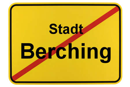 Illustration of a city entrance sign for the city of Berching in the Altmühltal