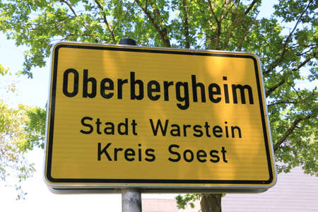 City entrance sign of Oberbergehim, a district of Warstein in the Sauerland