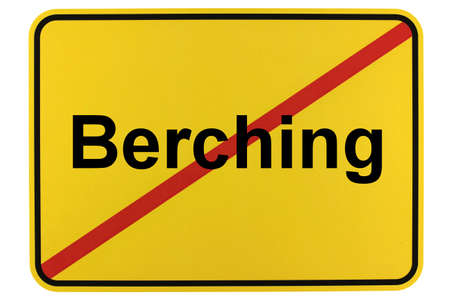 Illustration of a city exit sign for the city of Berching in the Altmühltal Standard-Bild