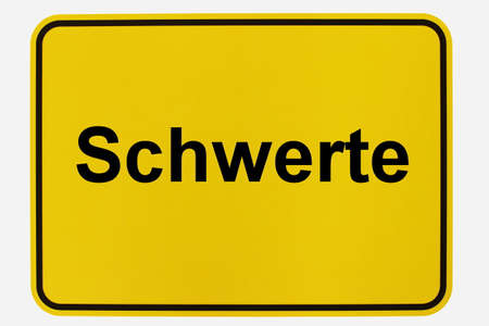 Illustration of a city entrance sign for the city of Schwerte in North Rhine-Westphalia