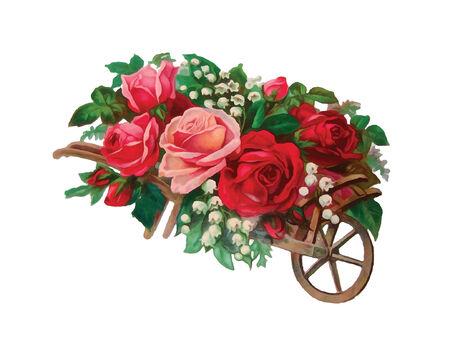 red rose: basket of roses illustration