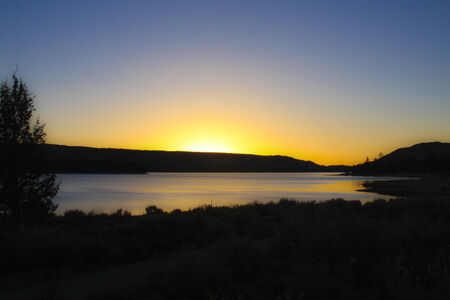 bear lake: Sun setting over Big Bear Lake California
