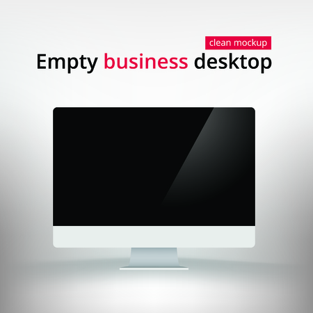 respond: Empty screen of business personal computer mockup. Blank white desktop PC with black display. Template for design demo web-site. Web 2.0 Responsive Illustration Vector Isolated. Illustration