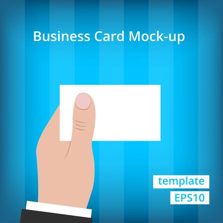 hand holding business card: Business man in suit holding blank business card with one hand at blue background with stripes. Illustration
