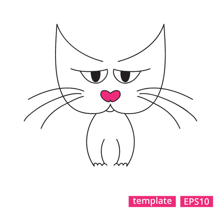 Vector illustration of a sad tabby cat with the pink nose.