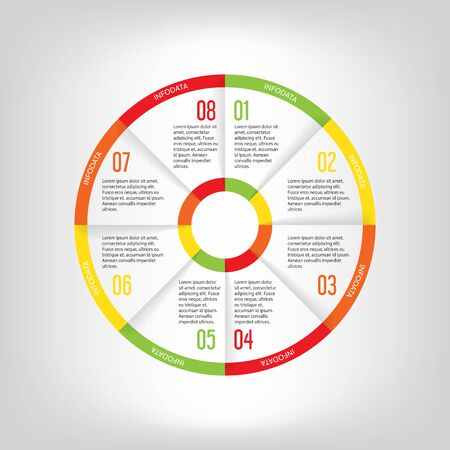 Infographic circle banner. Template for graph, report, presentation, data visualisation, cycling diagram, round chart, number options, web design. 8 steps vector background. Illustration