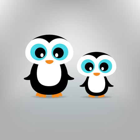 father and child: Cute penguins family Mother and Child Illustration standing at clear background. Illustration
