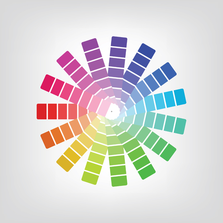spectral: Colorful radial gradient badge made of rainbow spectral colors placed on light white background.